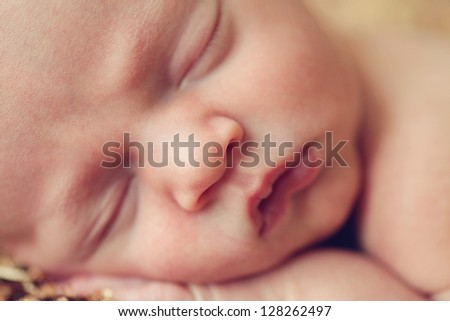 Close up of newborn baby face