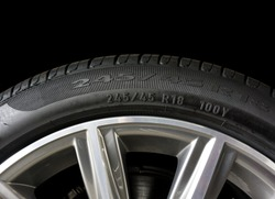 Close up of Number code on sidewall of car tyre with alloy wheel, Tyre Sidewall Markings.