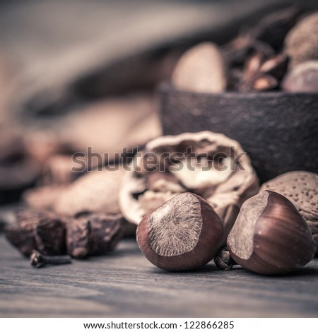 Close-up of Nuts and Spices - stock photo