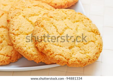 Close-up of oatmeal cookies on the plate