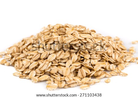 close up of oatmeal flakes on white background #271103438