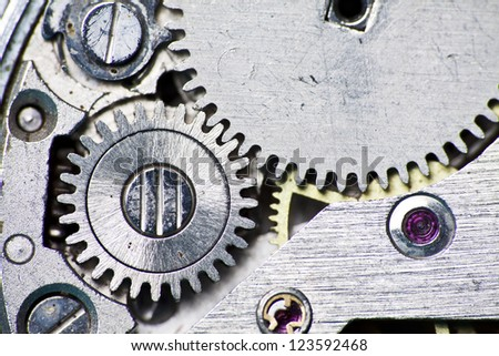 Close-up of old clock mechanism
