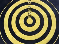 Close up of old dart board