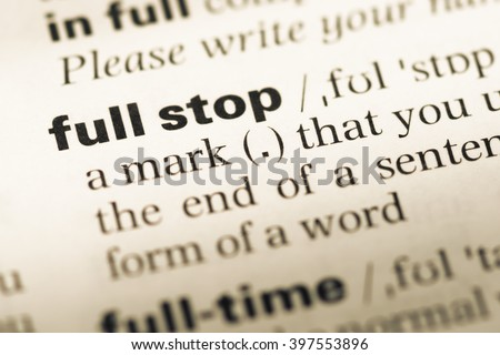 Close up of old English dictionary page with word full stop Сток-фото ©