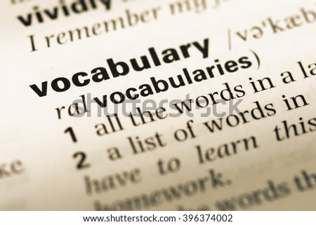 Close up of old English dictionary page with word vocabulary ストックフォト ©