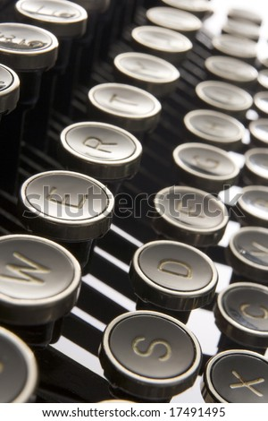 Close Up Of Old Fashioned Typewriter Keys