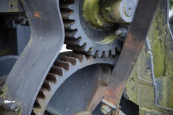 Close up of old gearwheels.
