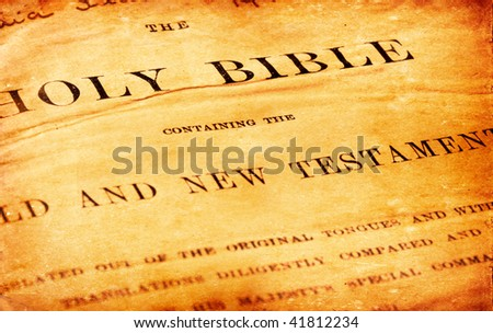 Close up of old Holy bible book