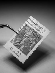 Close up of Old Postal Stamps