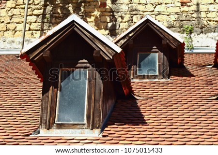 Close up of old roof in old city of Zagreb, Croatia #1075015433