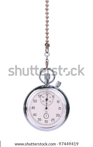 Close-up of old stopwatch timer isolated on white background