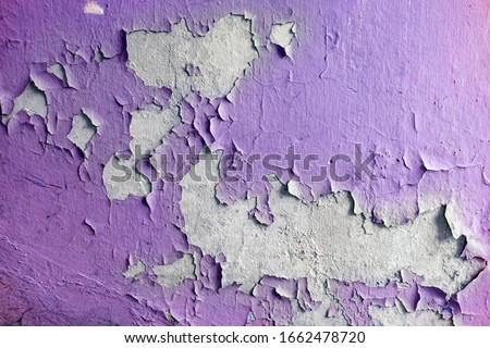 Close up of old stucco cracks on the wall. Weathered paint cracks on plaster. Cracked wall background. Abstract Web Banner Foto stock ©