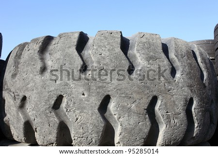 Close up of old tire - stock photo