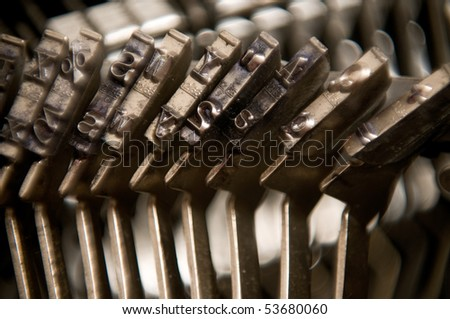 Close up of old type bars on standard typewriter