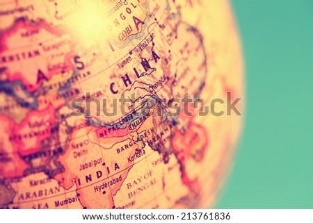 close up of old vintage globe