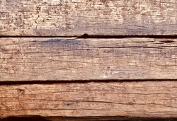 Close-up of old wood use for background. Pile of wood sleeper of railway.