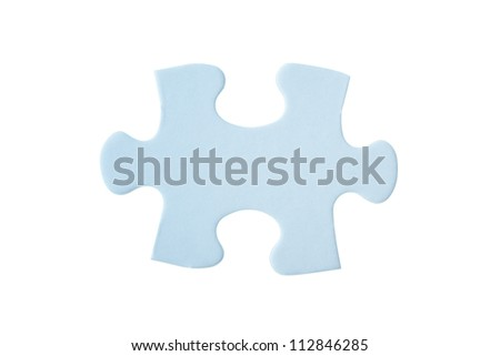 close up of one blue puzzle piece isolated on white background (Path in the image)