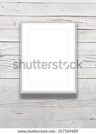 Close Up Of One Grey Picture Frame On Wooden Boards Background Ez