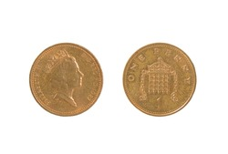 Close up of one new shiny copper British penny, front and back. Isolated on white.