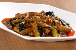 Close up of one of the most popular Chinese Sichuan province cuisine Fish flavored  eggplants with Minced Pork in Garlic Sauce  (Chinese: Yuxiangqiezi)