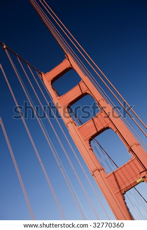 Close up of one of the towers of the Golden Gate bridge