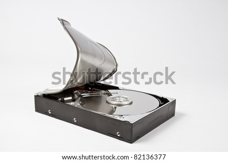 Close up of open hard disk. Hard disk seems to be opened by force. Grey background