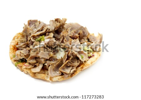 close up of open kebab sandwich isolated on white background
