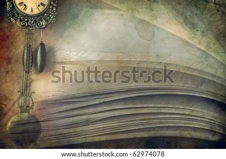 Close-up of opened book pages and clock  against vintage background