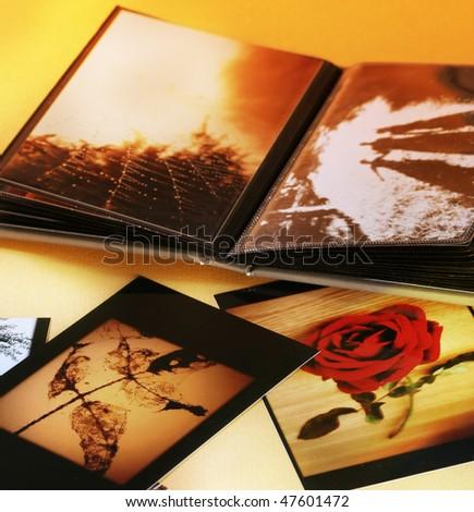 Close-up of opened photo album.