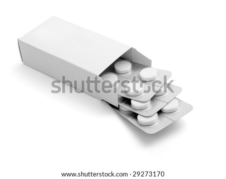 close up of package of tablets on white background with clipping path