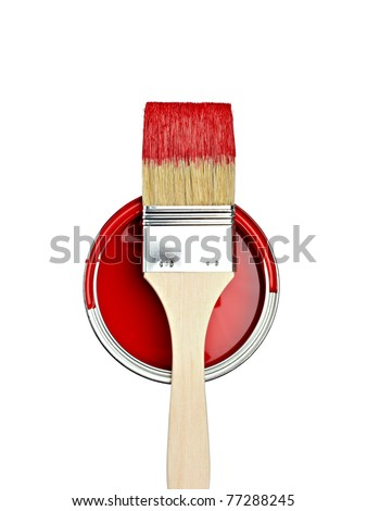 close up of paint container and brush  on white background with clipping path