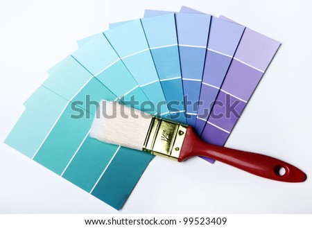 Close up of pantone color palette and brush