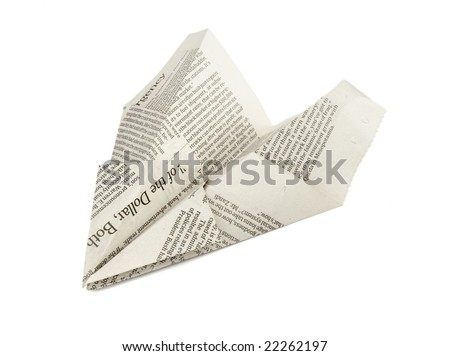 close up of paper airplane on white background with clipping path