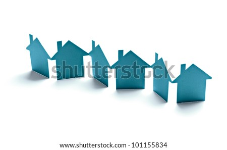 close up of  paper houses on white background