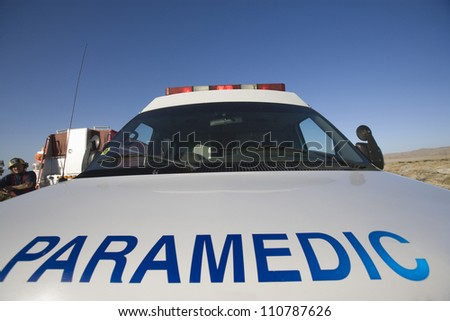 Close-up of 'PARAMEDIC' written on a car