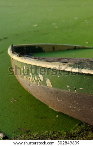 close up of part of green rowing boat submerged in water with leaves. #502849609