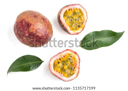 Close up of Passion fruits on white background