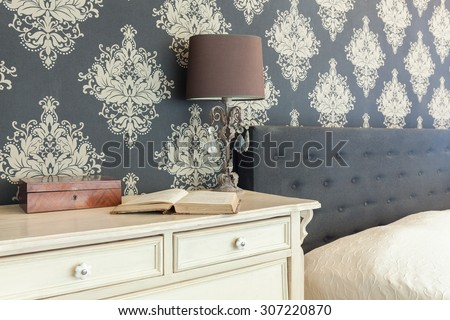 Close-up of patterned wallpaper in retro interior #307220870