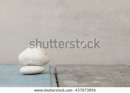 close-up of pebbles on the wood. #437873896