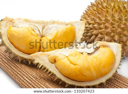 Close up of peeled Durian or Dorain isolated on white background.