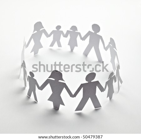 close up of people cut out of paper on white background