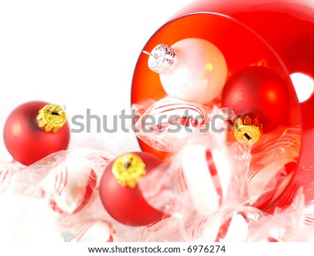 close-up of peppermint candies with decorations