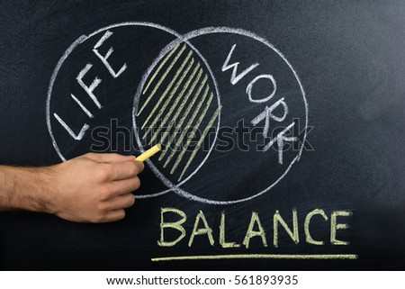 Close-up Of Person Hand Showing Work-life Balance Concept On Blackboard #561893935