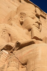 Close up of Pharaoh statue at Temple of Ramses II, Abu Simbel, Egypt