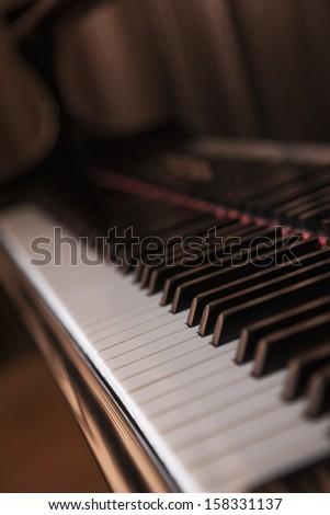 Close-up of piano and piano keys