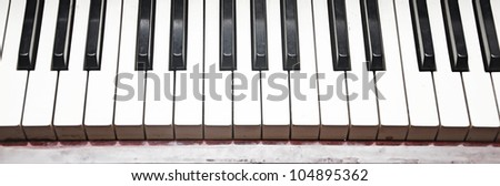 Close-up of piano key. Black and white