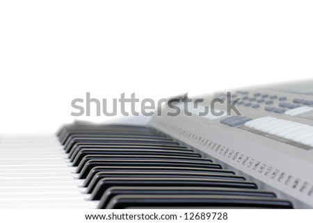 Close-up of piano key isolated. Black and white
