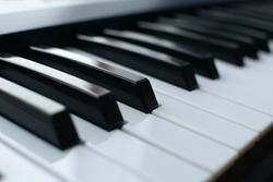 Close-up of piano keyboard. Music instruments. Copy space.