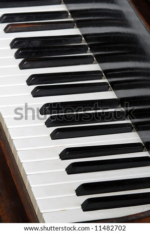 Close-up of piano keyboards, black and white keyboards of old piano instrument