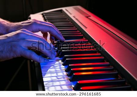 close-up of piano keyboards, close-up. #296161685